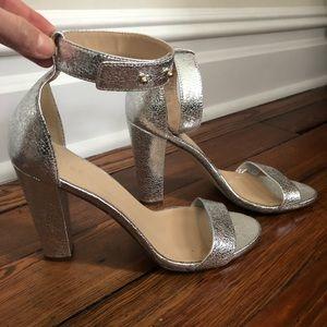 J.Crew Lanie Crackled Metallic Leather Heel Sandal
